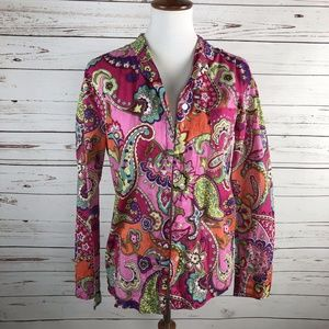 5/$25 SALE!  Paisley Pink Pajama Top Button Up
